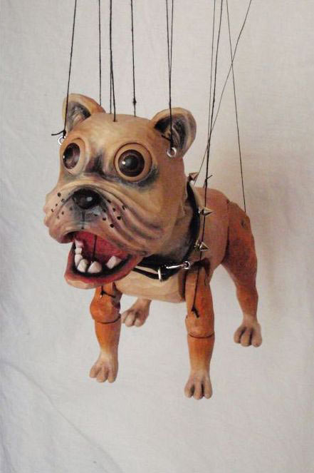 Bulldogge Holz marionette
