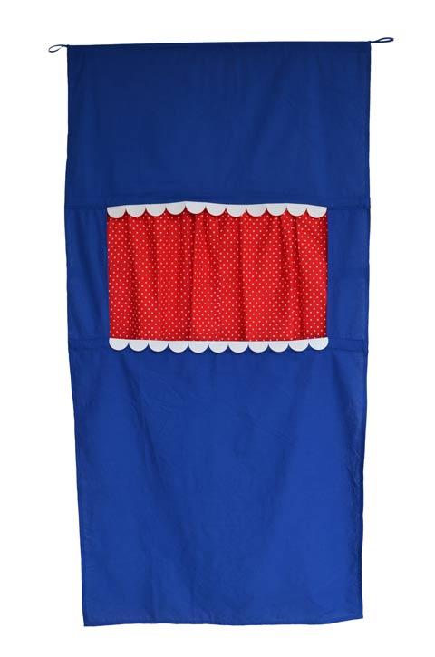 Tür Kasperletheater blau, platzsparendes Kinder Puppentheater