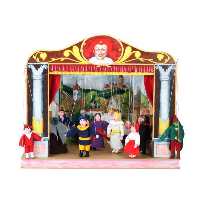 Familien Puppentheater aus Holzkarton und 12 marionetten