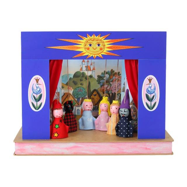 """Mini Puppentheater """"Sonne"""" und 6 marionetten"""