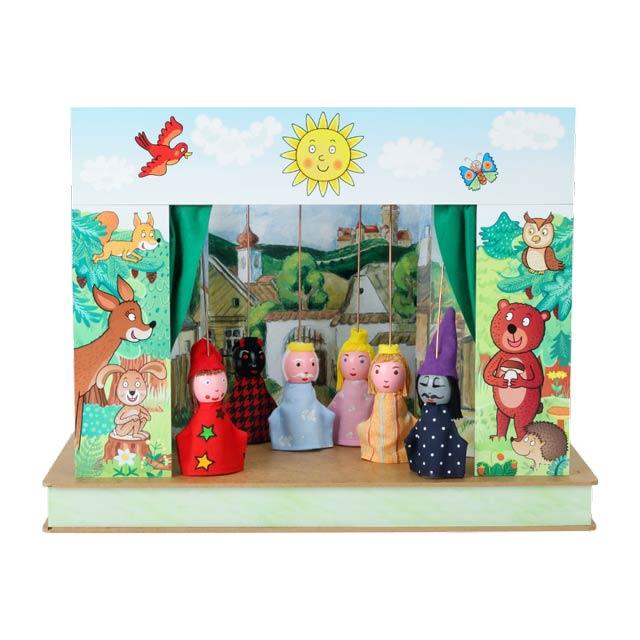"""Mini Puppentheater """"Wald"""" und 6 marionetten"""