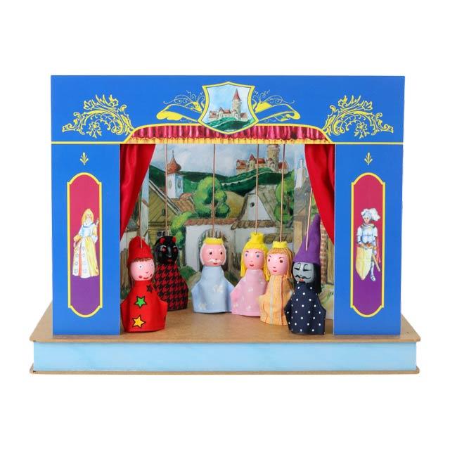 """Mini Puppentheater """"Schloss"""" und 6 marionetten"""