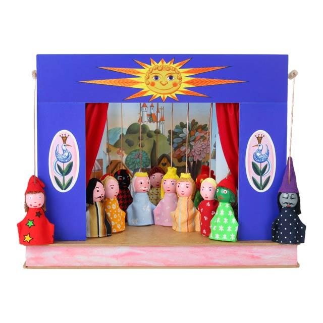"""Der kleine Puppentheater """"Sonne"""" und 12 marionetten"""