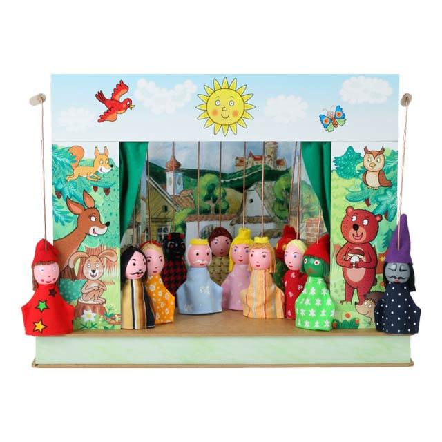 """Der kleine """"Wald"""" Puppentheater und 12 marionetten"""