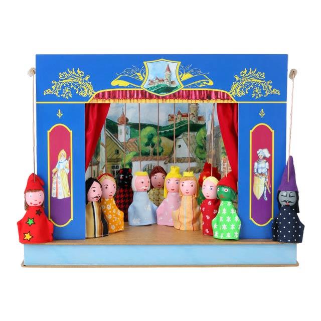 """Der kleine """"Schloss"""" Puppentheater und 12 marionetten"""
