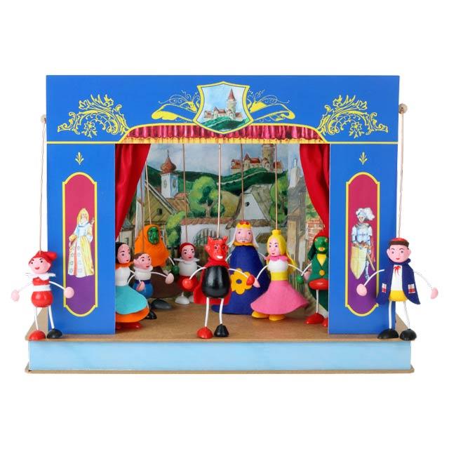 """Mini Puppentheater """"Schloss"""" und 10 marionetten"""