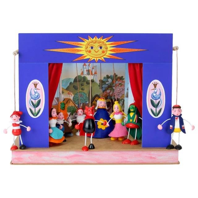 """Mini Puppentheater """"Sonne"""" und 10 marionetten"""