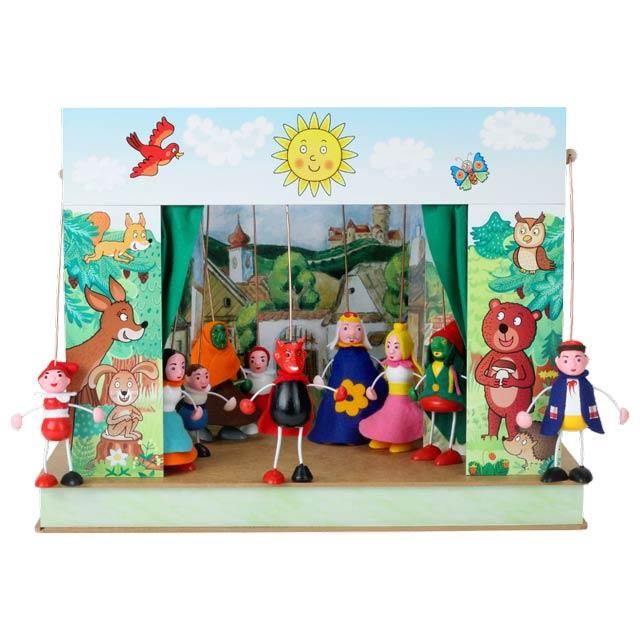 """Mini Puppentheater """"Wald""""  und 10 marionetten"""